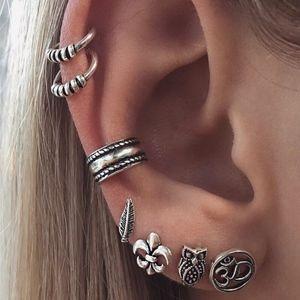 SOON Leaf Owl Studs Silver Ear Cuff Clip Earrings